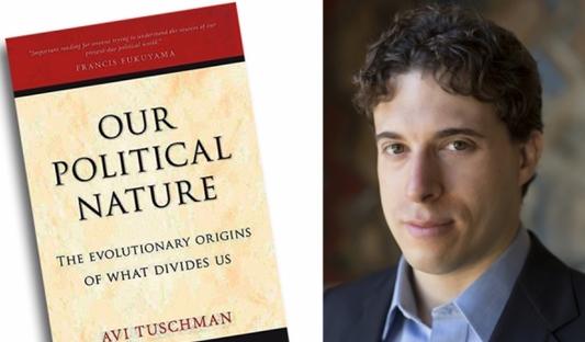 Avi Tuschman y la portada del libro,  Nuestra Naturaleza Política