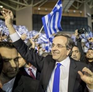 El primer ministro griego, Andonis Samarás, durante el último acto de la campaña electoral de su partido, Nueva Democracia, en Atenas, Grecia, el pasado viernes. EFE