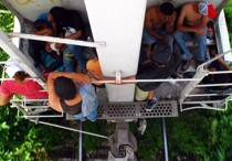 Migrantes centroamericanos viajan en el tren La Bestia en el estado mexicano de Tabasco . EFE/Archivo