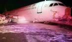 Imagen cedida por Transportation Safety Board of Canada del avión, un Airbus A320 de Air Canada, el mismo modelo del avión de Germanwings siniestrado en los Alpes franceses, que se salió de la pista durante su aterrizaje en el Aeropuerto Internacional de la ciudad canadiense de Halifax. EFE