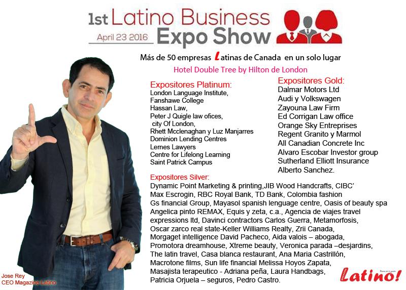 1re Latino business expo show. Evento que se realizara el próximo 23  de Abril en las instalaciones del Hotel Double Tree by Hilton de London