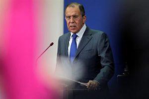 El ministro ruso de Exteriores, Serguéi Lavrov, durante una rueda de prensa hoy en Belgrado, Serbia. EFE